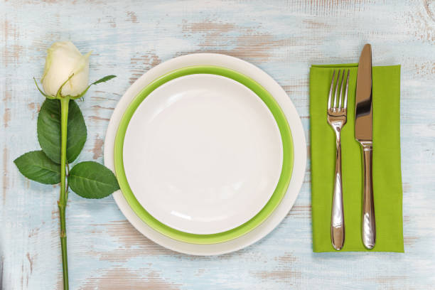 beautiful table setting - blue table setting stock photos and pictures