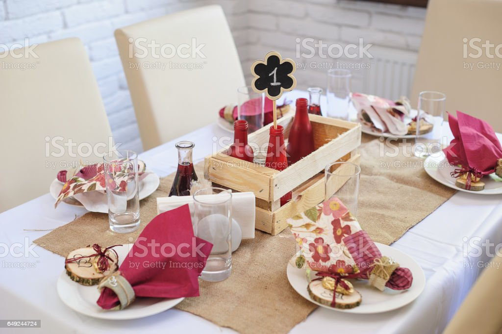 Beautiful Table Setting Wedding Table In A Restaurant In The Rustic Style Stock Photo Download Image Now Istock