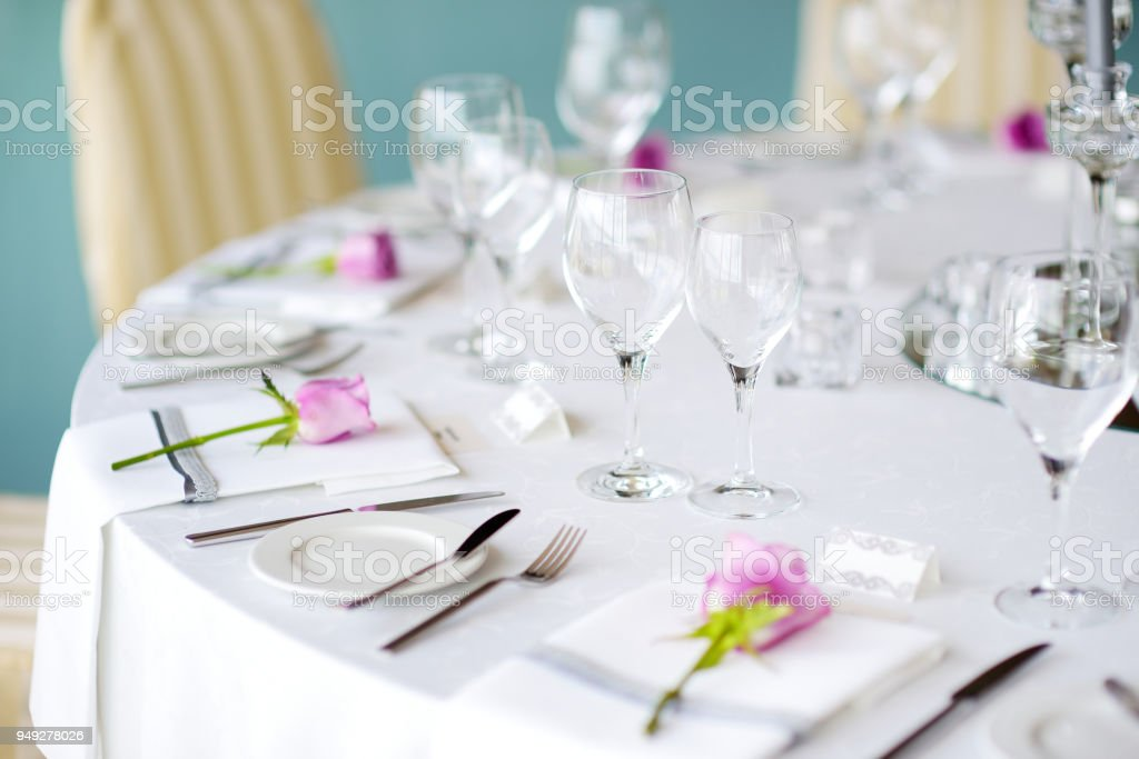 Beautiful table setting with crockery and flowers for a party wedding reception or other festive  sc 1 st  iStock & Beautiful Table Setting With Crockery And Flowers For A Party ...