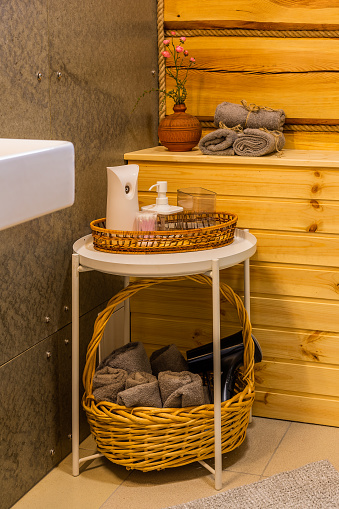 819534860 istock photo Beautiful table with towels in the bathroom 1188722831
