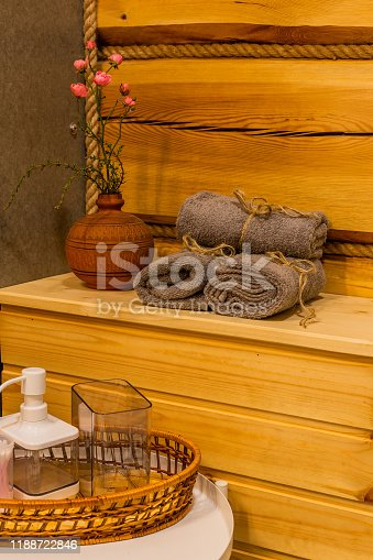 819534860istockphoto Beautiful table with towels in the bathroom 1188722846