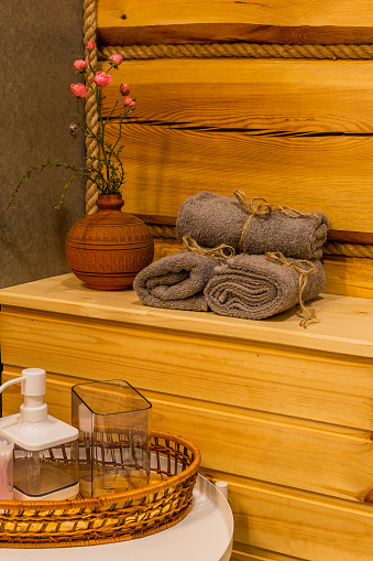 819534860 istock photo Beautiful table with towels in the bathroom 1188722846