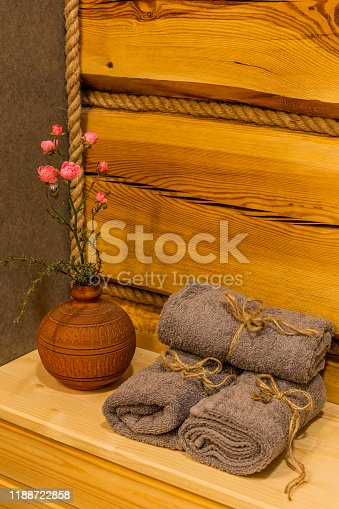 819534860istockphoto Beautiful table with towels in the bathroom 1188722858