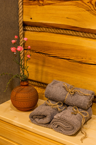 819534860 istock photo Beautiful table with towels in the bathroom 1188722858