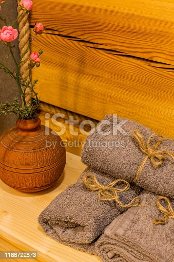 819534860istockphoto Beautiful table with towels in the bathroom 1188722873