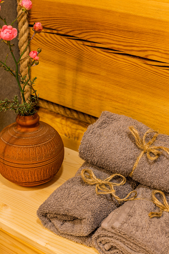 819534860 istock photo Beautiful table with towels in the bathroom 1188722873