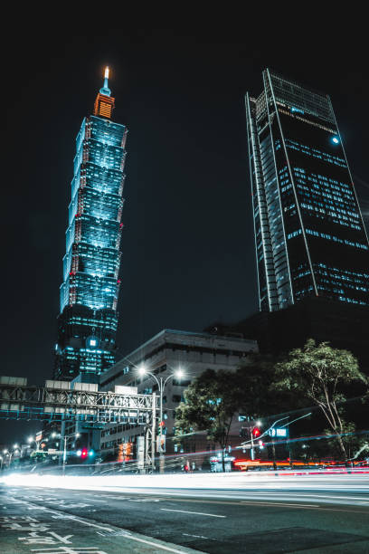 Beautiful Taipei skyline at night. Taipei 101 skyscraper featured. Taiwan stock photo