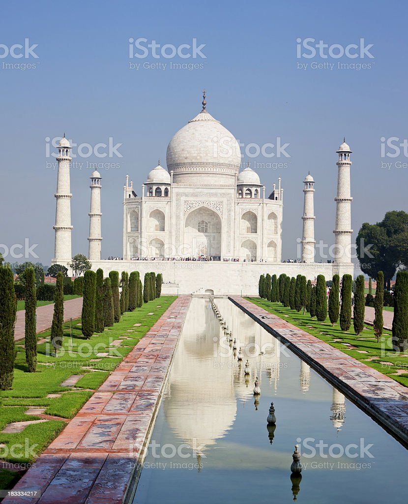 Beautiful Taj Mahal, Agra, Radjasthan, India under blue sky. royalty-free stock photo