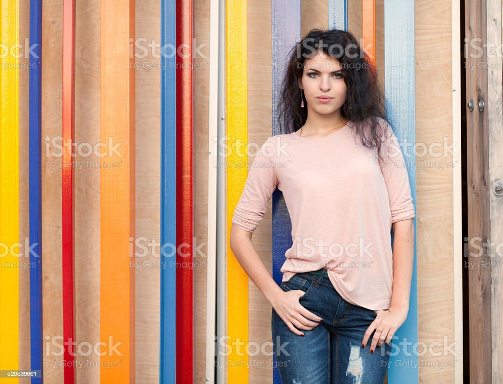 Beautiful tall girl with long hair brunette stock photo