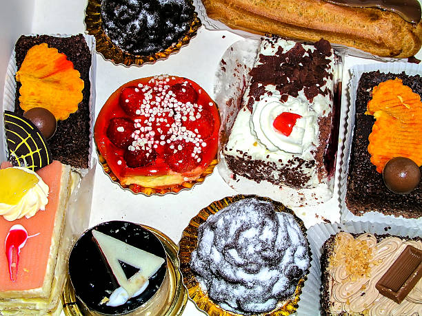 Beautiful tasty cakes view from above