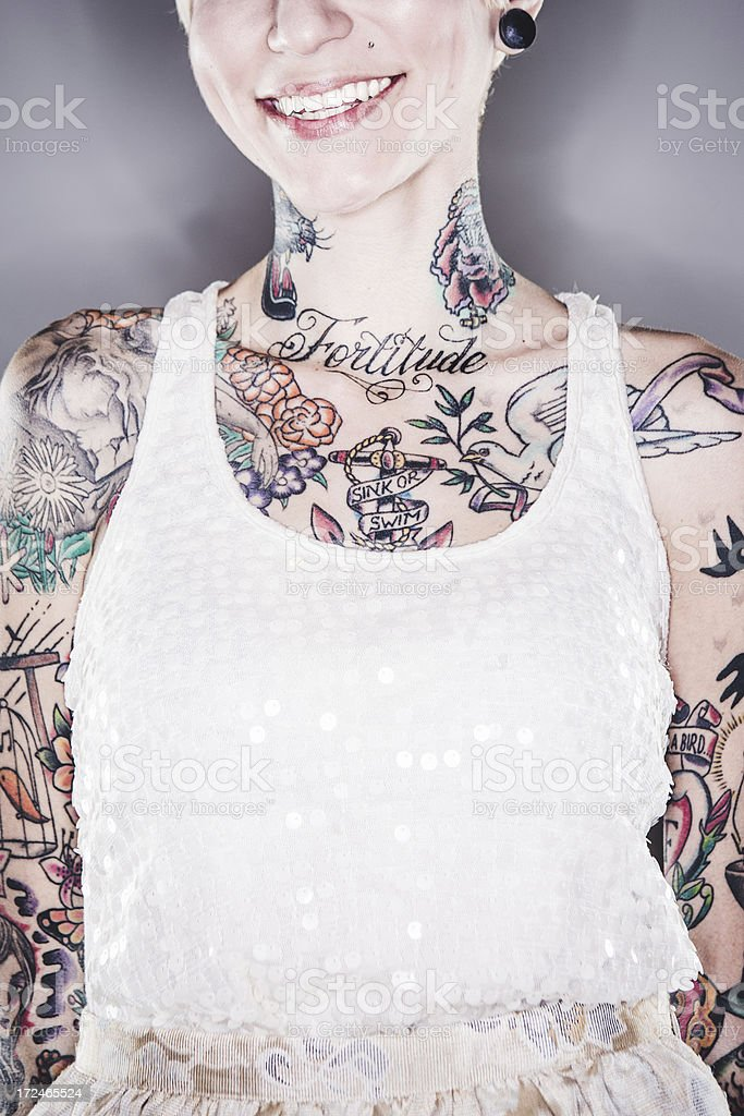 Beautiful Tattooed Woman Portrait royalty-free stock photo