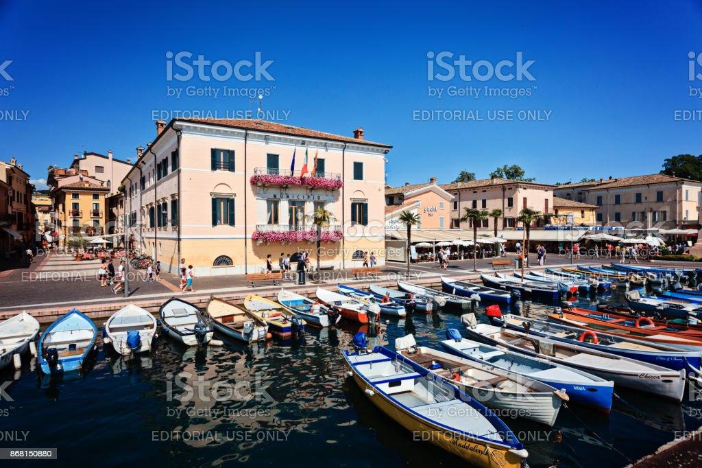 Beautiful tawn hall in Bardolino near lake Garda in Italy stock photo