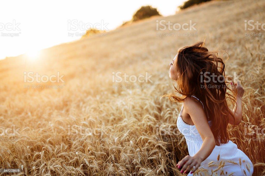 Beautiful teen feeling free stock photo