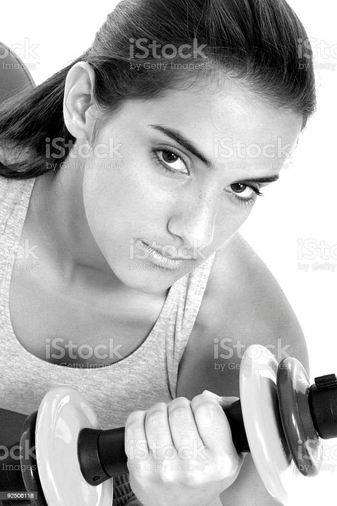 Beautiful Teen Girl In Workout Clothes And Hand Weights royalty-free stock photo