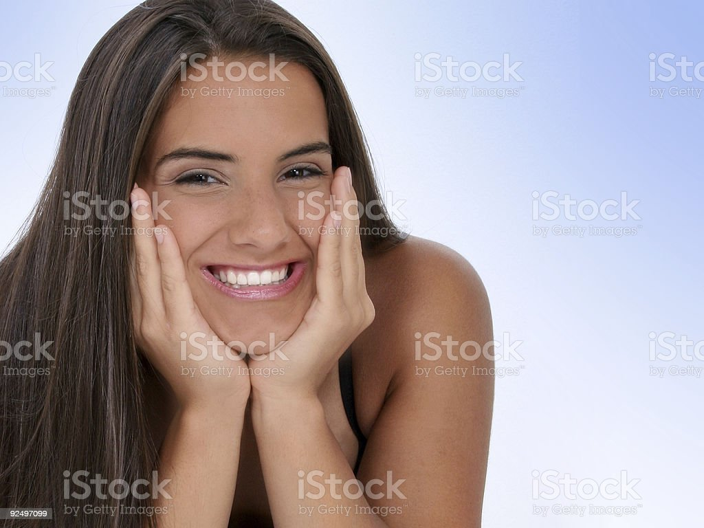 Beautiful Teen Girl With Chin in Hands royalty-free stock photo