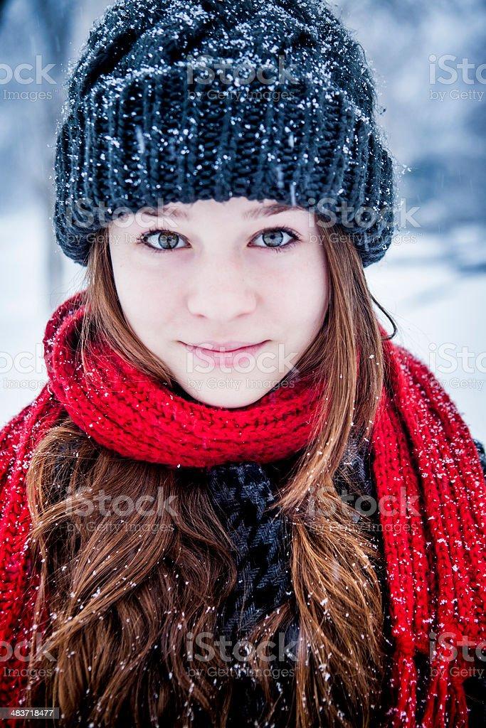 Beautiful Teen Winter Portrait royalty-free stock photo
