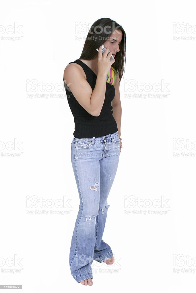 Beautiful Teen With Cellphone Over White royalty-free stock photo