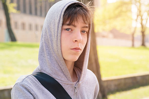 beautiful teenage boy with hoodie – Foto