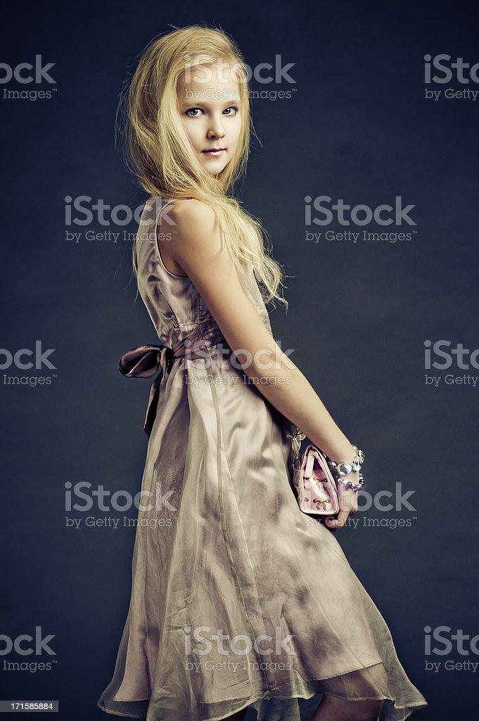 Beautiful teenage fashion model stock photo