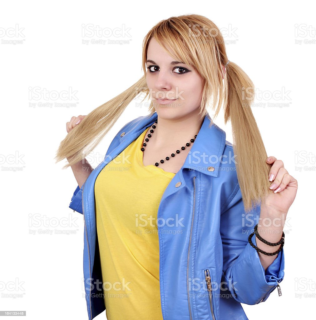 beautiful teenage girl with pigtail portrait royalty-free stock photo