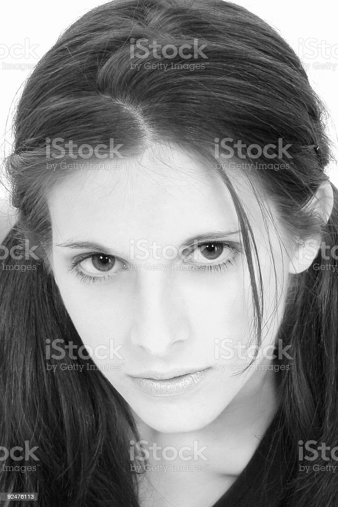 Beautiful Teenage In Black And White royalty-free stock photo