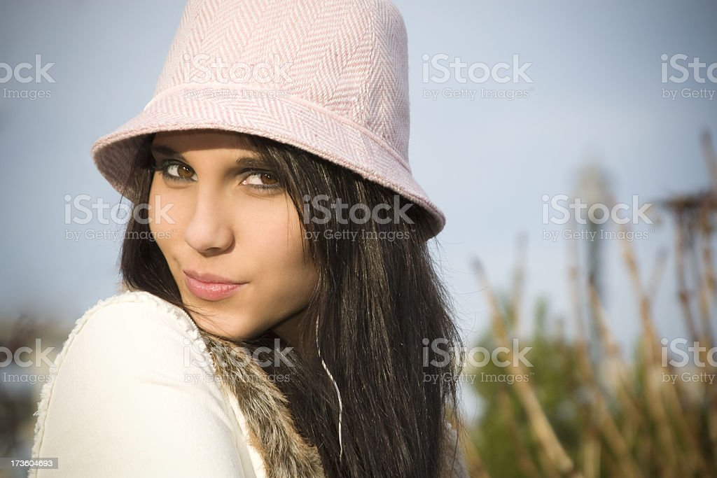 Beautiful Teenage Young Woman Portrait, Outdoors, Ear Buds, Copy Space royalty-free stock photo