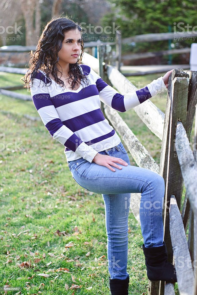 Beautiful teenager on jeans royalty-free stock photo