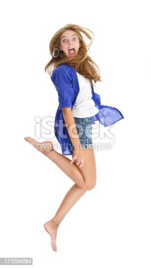 istock Beautiful teen's jumping and having fun 171254264