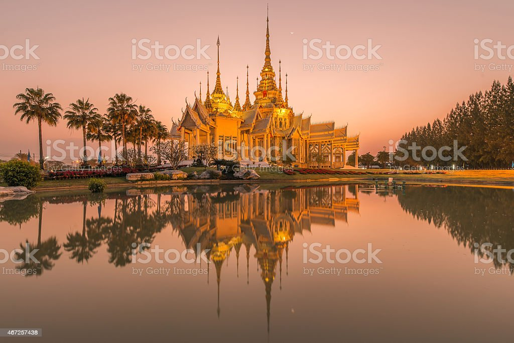 Beautiful temple at twilight time in Thailand stock photo