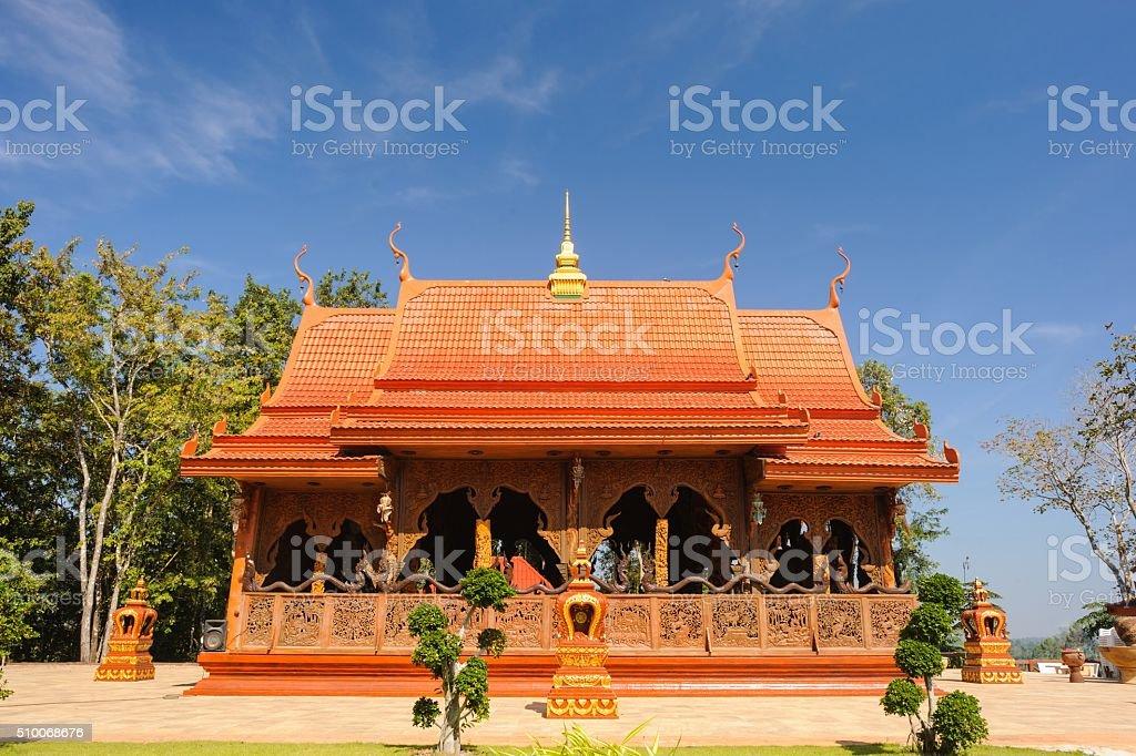 Beautiful temple is teak wood sanctuary. stock photo