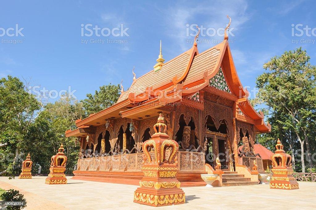 Beautiful temple is teak wood sanctuary, Thailand. stock photo