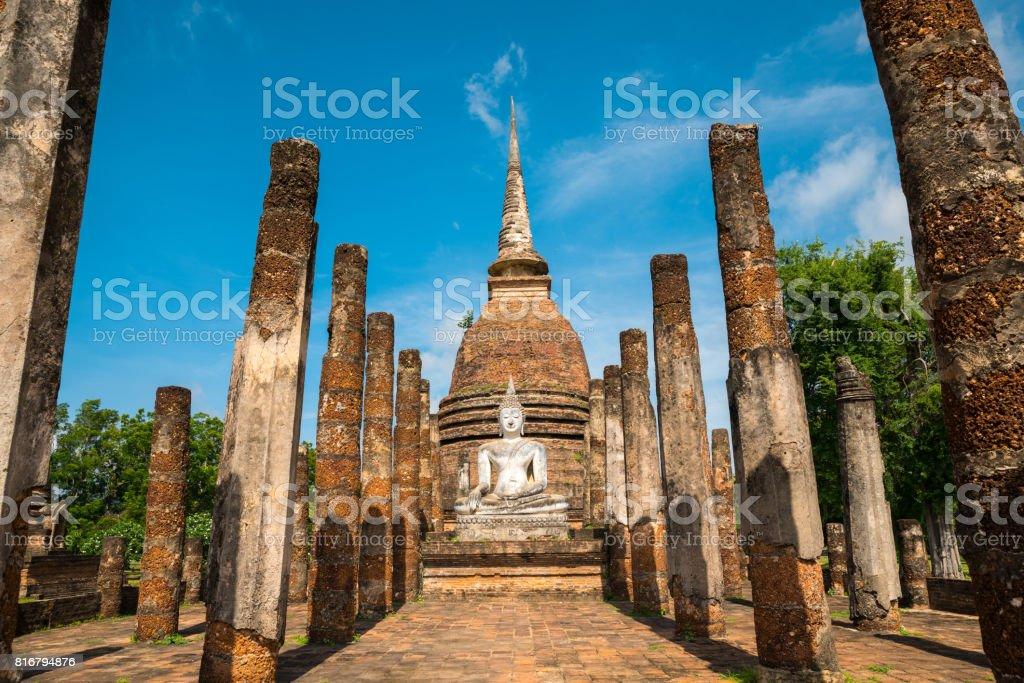Beautiful temple Thailand name Sa-Sri temple, Sukhothai Historical Park, stock photo