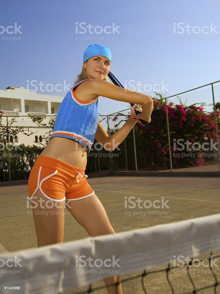 Beautiful tennis player royalty-free stock photo