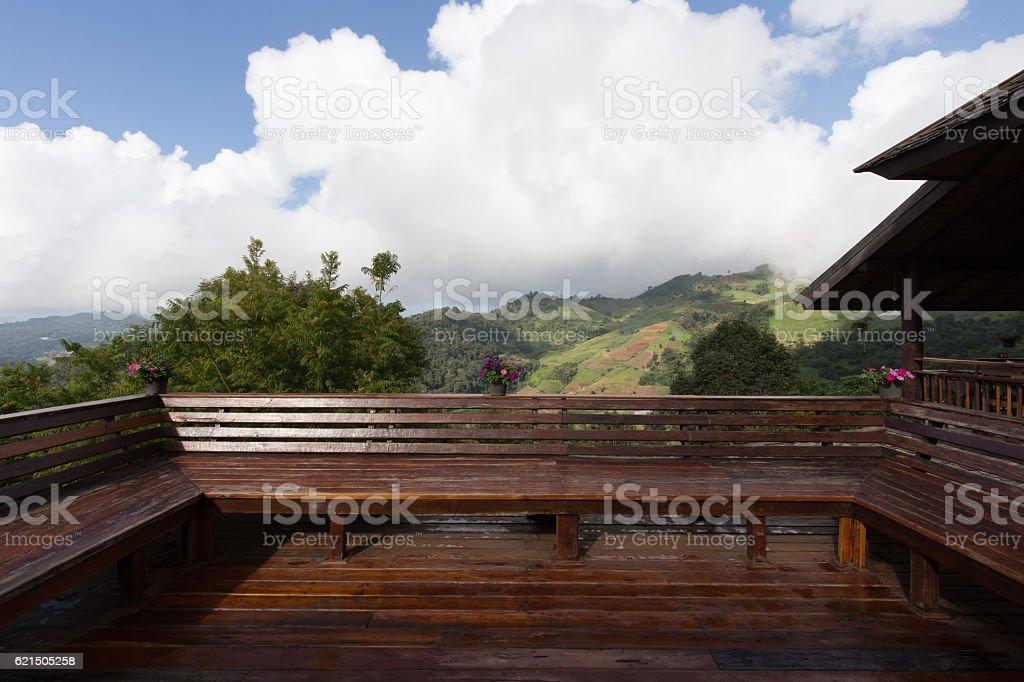 Beautiful Terrace and mountain view Lizenzfreies stock-foto