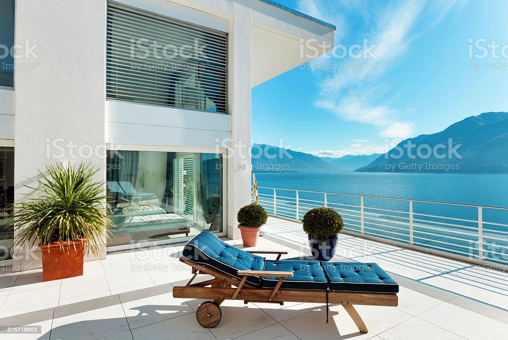 beautiful terrace of a penthouse stock photo