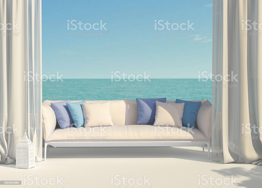 Wunderschöne Terrasse mit Blick auf das Meer – Foto