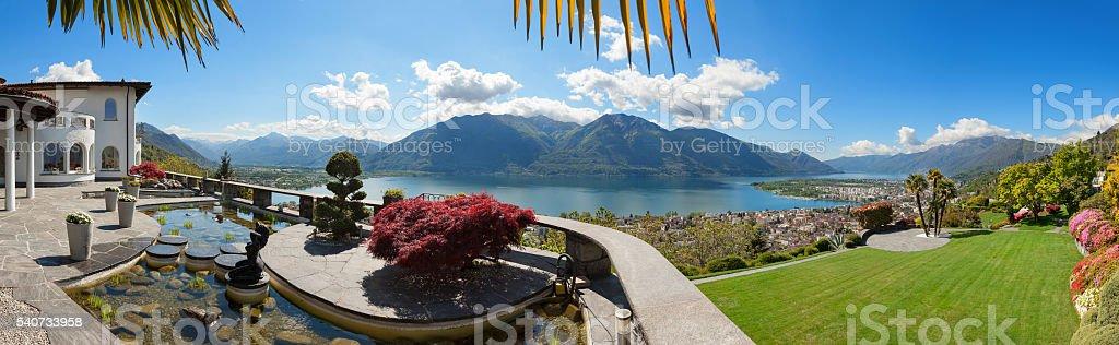 beautiful terrace with ornamental garden stock photo