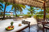 Enjoying holidays in private villa near Indian ocean (Zanzibar island, Tanzania). Property released.