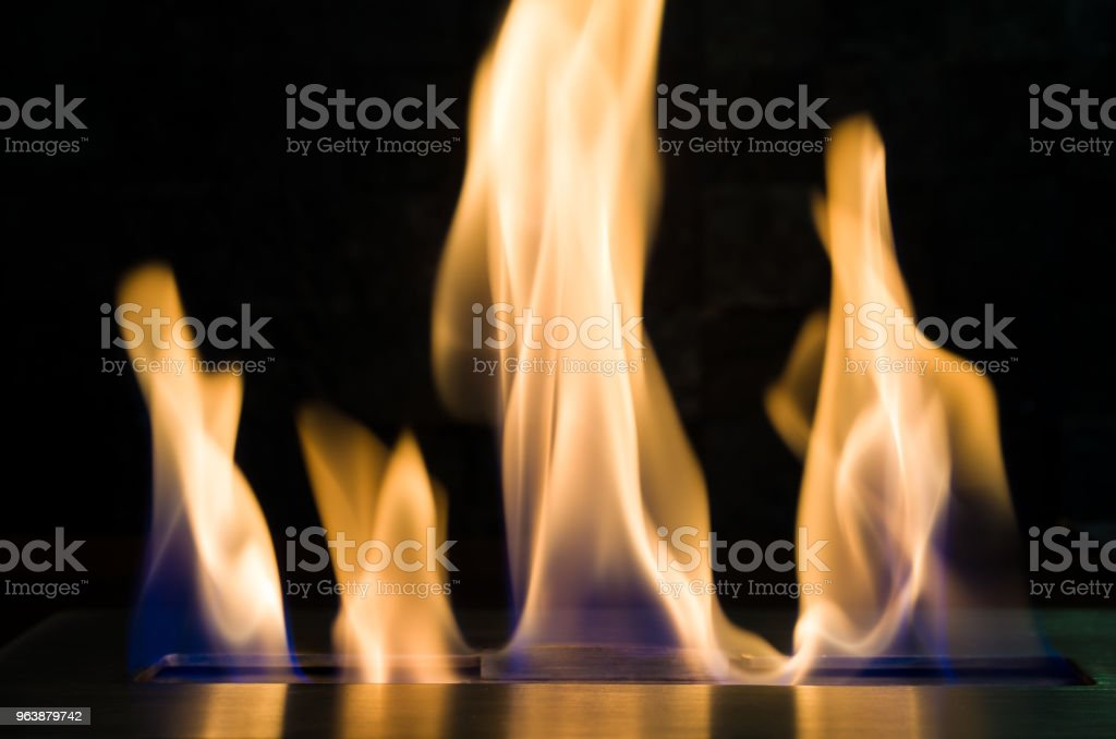 Beautiful texture of fire, fireplace with ethanol. - Royalty-free Art Stock Photo