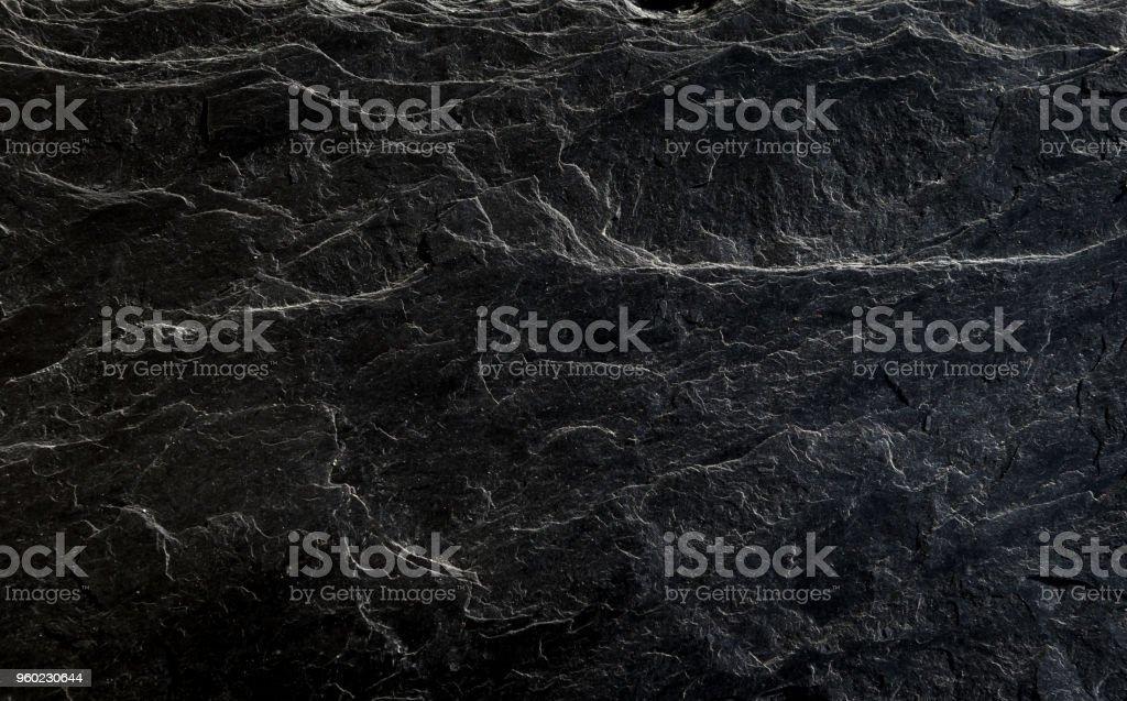 Schöne, strukturierte Oberfläche des schwarzen schlesischen Schiefer-Nahaufnahme – Foto