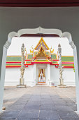 Beautiful Thai art traditional on the Gate at Wat Arun Bangkok Thailand, Wat Arun is The most famous temples in Bangkok Thailand.