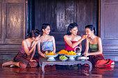 Beautiful thai girls in thai traditional costume