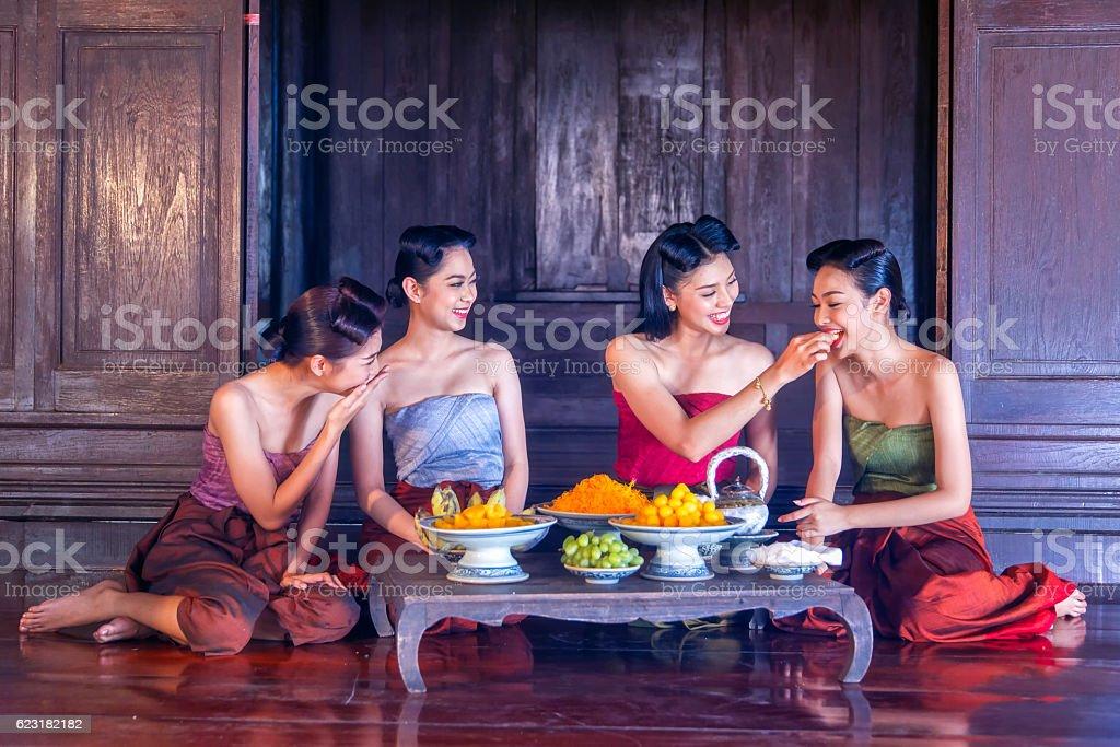 Beautiful thai girls in thai traditional costume stock photo
