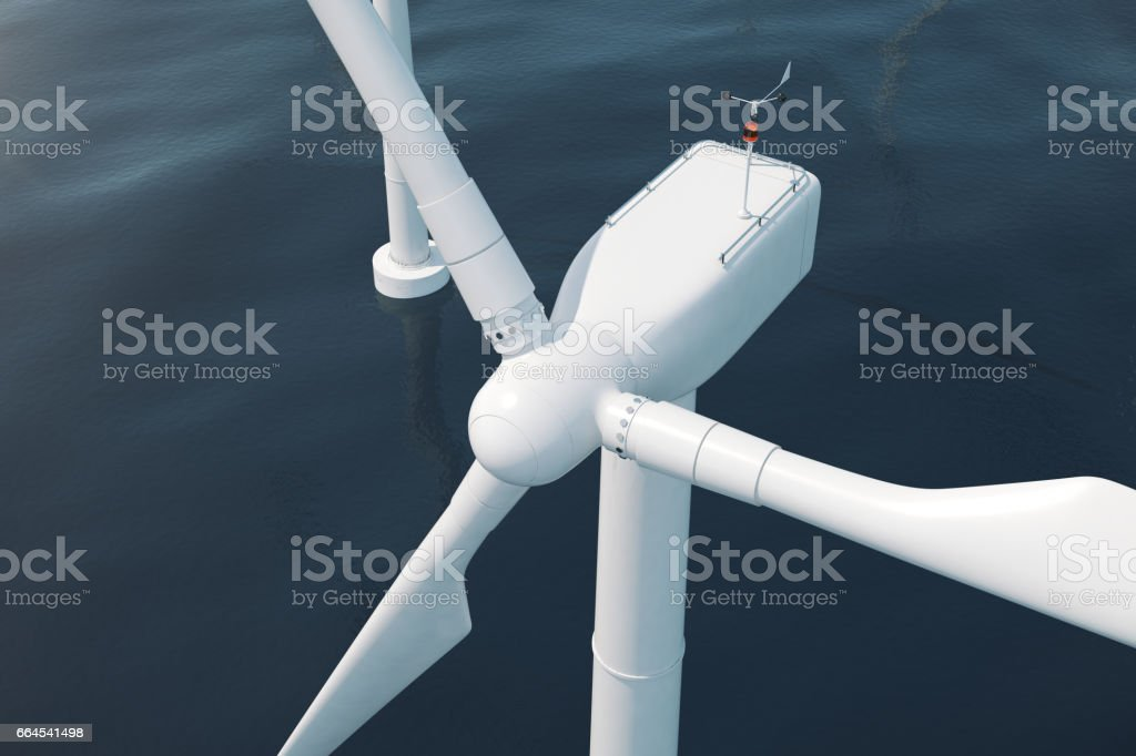 Beautiful the wind turbines in sea, ocean. Clean energy, wind energy, ecological concept. 3d rendering royalty-free stock photo