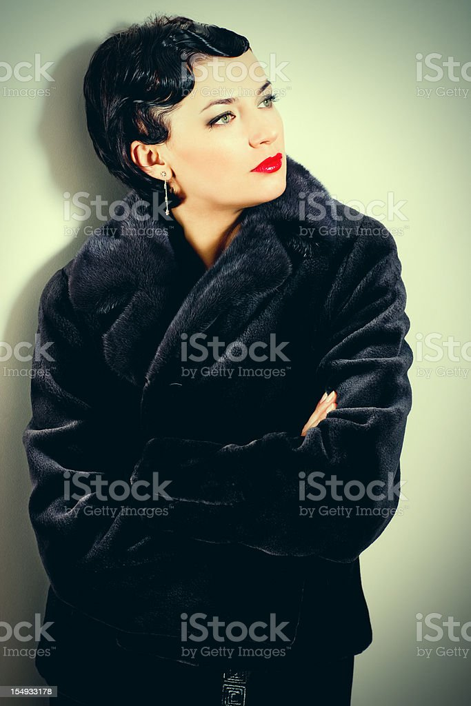 Beautiful Thirty Years Old Woman with Retro hairstyle royalty-free stock photo
