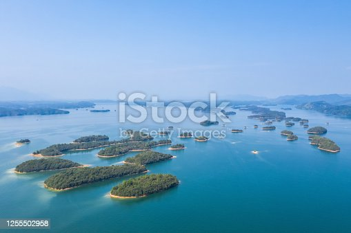 aerial view of the beautiful thousand island lake landscape, islands formed by artificial reservoirs