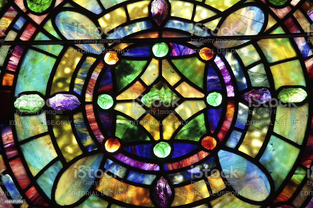 Beautiful Tiffany Stained Glass Window royalty-free stock photo