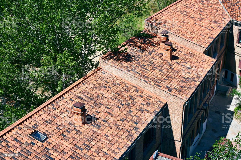 Beautiful tiled roof house in Madrid Lizenzfreies stock-foto