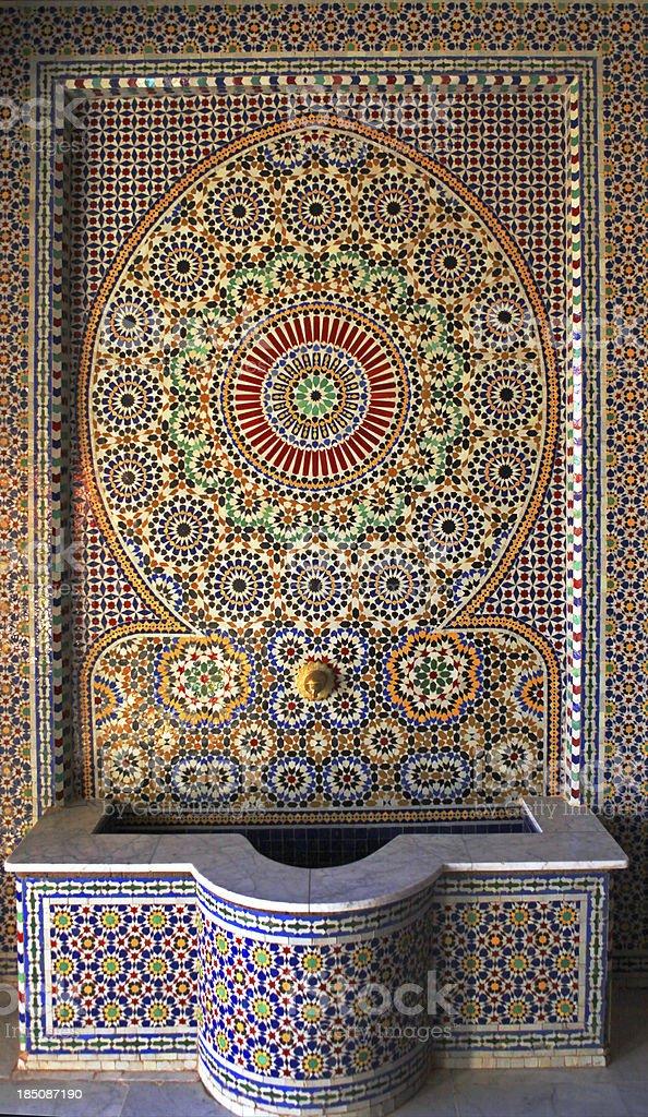 Beautiful tiles on  fountain in Kasbah Of Taourirt, Morocco royalty-free stock photo