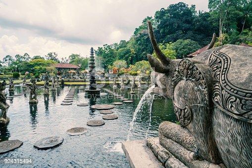Royal water garden on sunny day in Tirtagangga, Bali Beautiful Tirta Gangga temple or water temple, Bali, Indonesia